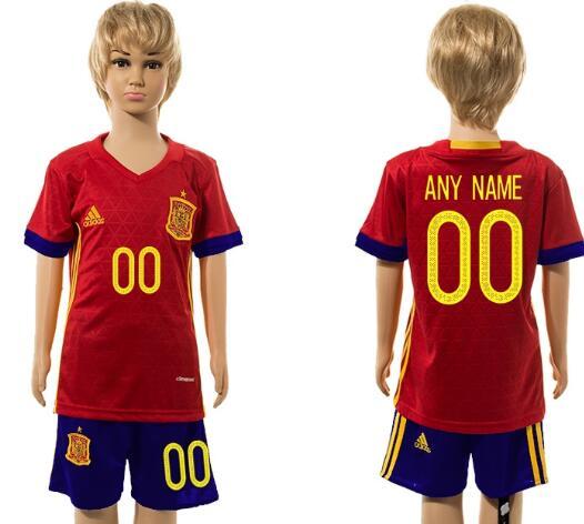 2016 European Cup Spain Home Custom Red Youth Soccer Shirt Kit