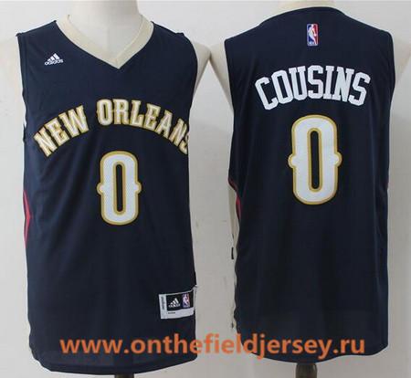 Men's New Orleans Pelicans #0 DeMarcus Cousins Navy Blue Stitched NBA adidas Revolution 30 Swingman Jersey
