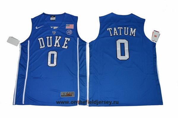 Men's Duke Blue Devils #0 Jayson Tatum Royal Blue College Basketball Nike Swingman Stitched 2017 NCAA Jersey
