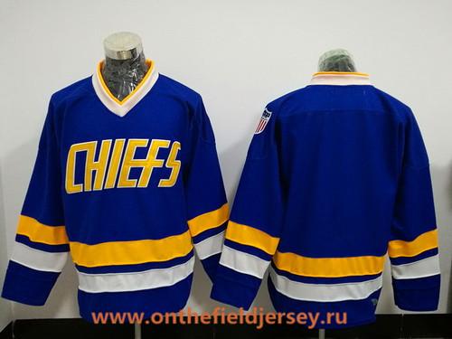 Men's The Movie Slap Shot Charlestown Chiefs Blank Blue Stitched Hockey Jersey