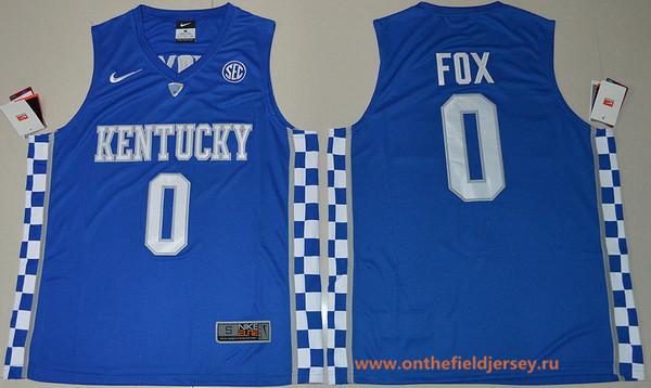Men's Kentucky Wildcats #0 De'Aaron Fox Royal Blue College Basketball 2017 Nike Swingman Stitched NCAA Jersey