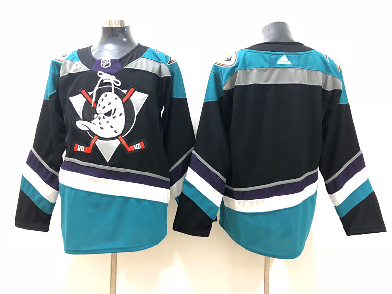 Men's Anaheim Ducks Blank 2018 New Black with Teal Stitched adidas NHL Jersey