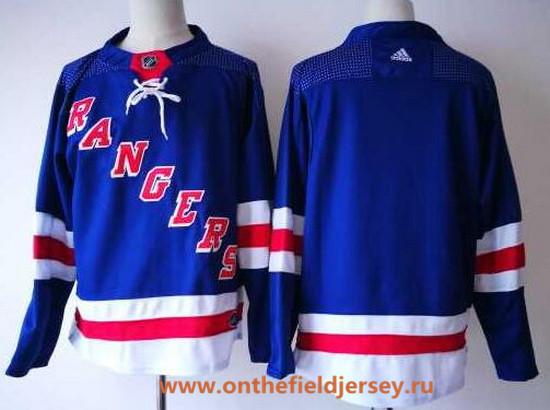 Men's New York Rangers Blank Royal Blue Home 2017-2018 Adidas Hockey Stitched NHL Jersey