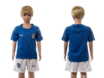 2016 European Cup Italy Home Blank Blue Youth Soccer Shirt Kit