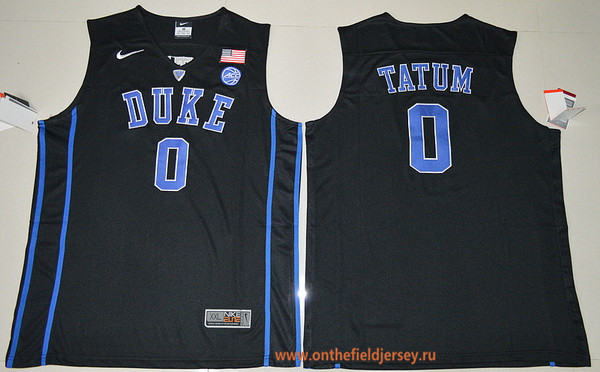 Men's Duke Blue Devils #0 Jayson Tatum Black College Basketball Nike Swingman Stitched 2017 NCAA Jersey