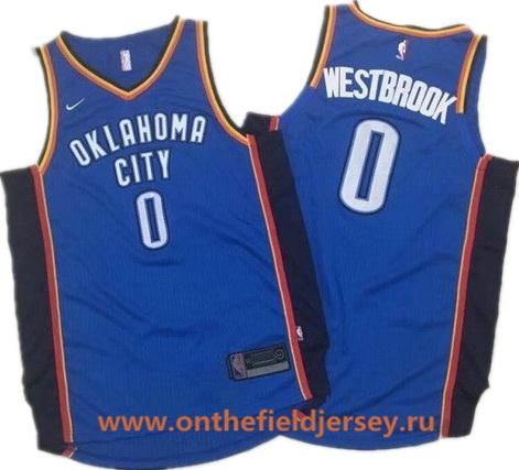 Men's Oklahoma City Thunder #0 Russell Westbrook Royal Blue 2017-2018 Nike Swingman Stitched NBA Jersey