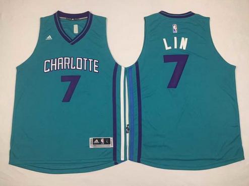 Men's Charlotte Hornets #7 Jeremy Lin Revolution 30 Swingman 2015 New Teal Green Jersey