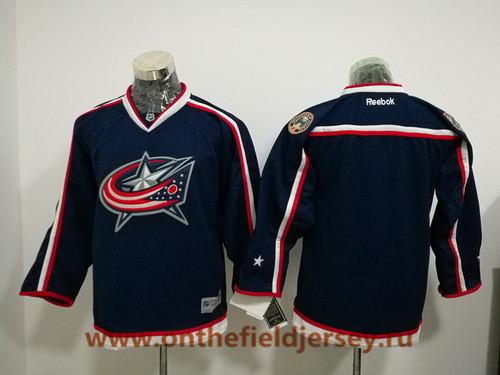 Youth Columbus Blue Jackets Blank Navy Blue Home Stitched NHL Reebok Hockey Jersey