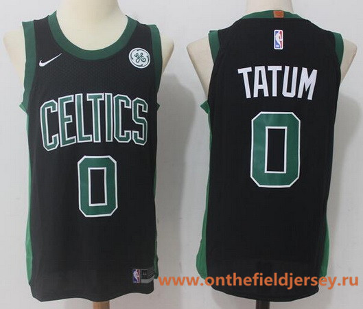 Men's Boston Celtics #0 Jayson Tatum Black 2017-2018 Nike Swingman General Electric Stitched NBA Jersey