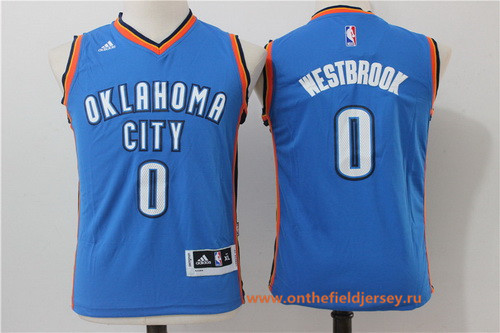 Youth Oklahoma City Thunder #0 Russell Westbrook NEW Blue Stitched NBA adidas Basketball Jersey