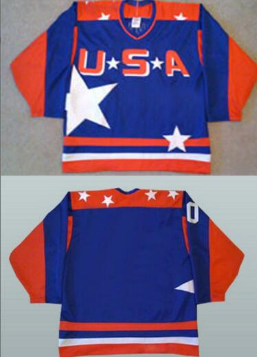Men's The Movie The Mighty Ducks Blank Blue Team USA All Star Stitched Film Ice Hockey Jersey