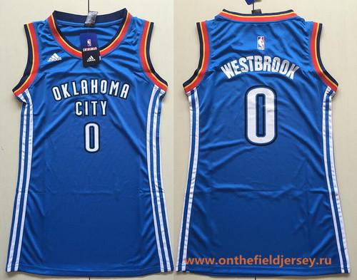 Women's Oklahoma City Thunder #0 Russell Westbrook Blue adidas NBA Dress Jersey