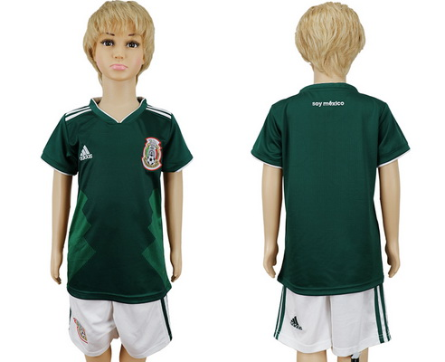 2018 World Cup Mexico National Team Home Green Kids Youth Soccer Shirt Kit
