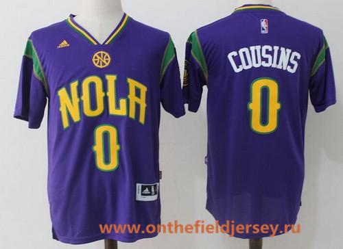 Men's New Orleans Pelicans #0 DeMarcus Cousins Purple Short-Sleeved Stitched NBA adidas Revolution 30 Swingman Jersey