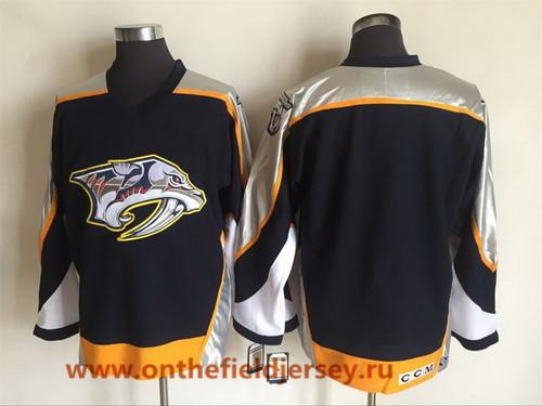 Men's Nashville Predators Blank Navy Blue 1998-99 Throwback Stitched NHL CCM Vintage Hockey Jersey