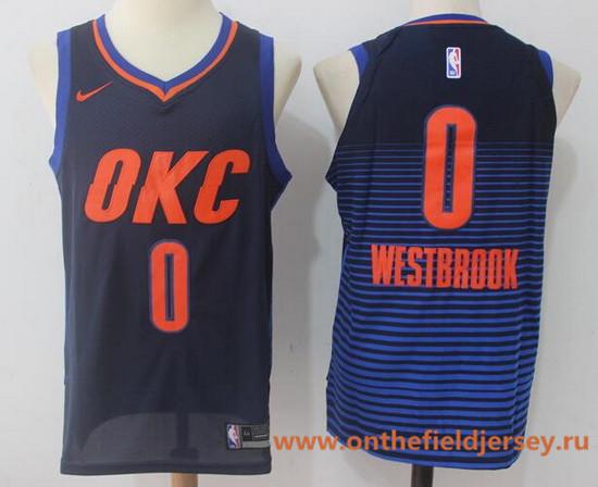 Men's Oklahoma City Thunder #0 Russell Westbrook Navy Blue Pinstirpe 2017-2018 Nike Swingman Stitched NBA Jersey