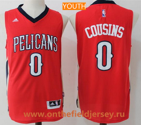 Youth New Orleans Pelicans #0 DeMarcus Cousins Red Stitched NBA Adidas Swingman Jersey