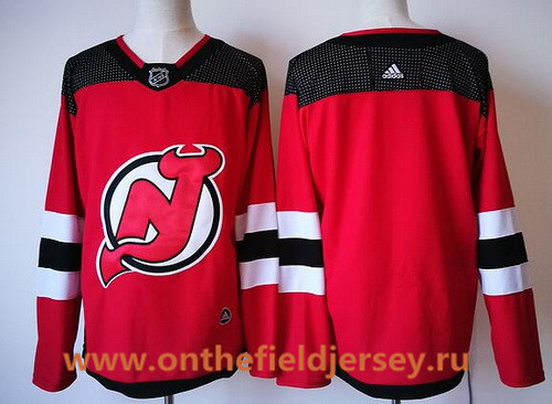 Men's New Jersey Devils Blank Red with Black Home 2017-2018 adidas Hockey Stitched NHL Jersey