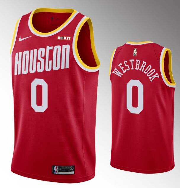 Men's Houston Rockets #0 Russell Westbrook 2019-20 Red Retro Nike Swingman Stitched NBA Jersey