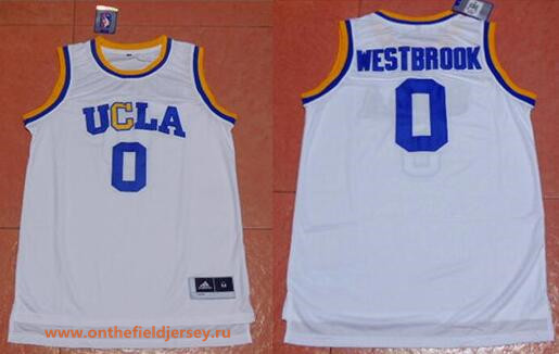 Men's UCLA Bruins #0 Russell Westbrook White College Basketball adidas Swingman Stitched NCAA Jersey