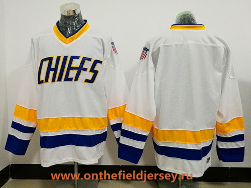 Men's The Movie Slap Shot Charlestown Chiefs Blank White Stitched Hockey Jersey