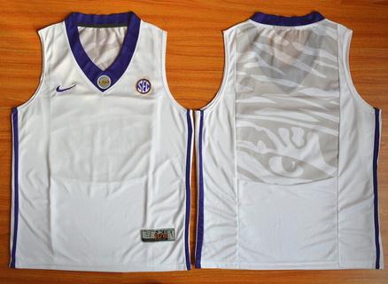Men's LSU Tigers Blank White College Basketball Nike Jersey