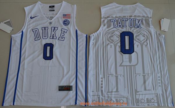 Men's Duke Blue Devils #0 Jayson Tatum White College Basketball Nike Swingman Stitched 2017 NCAA Jersey
