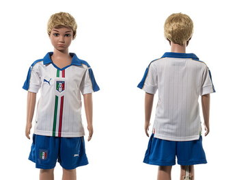 2016 European Cup Italy Away Blank White Youth Soccer Shirt Kit
