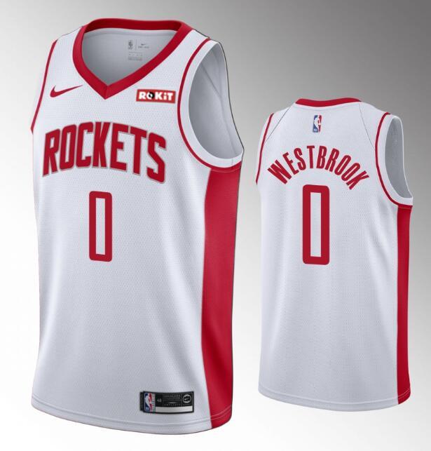 Men's Houston Rockets #0 Russell Westbrook 2019-20 White Nike Swingman Stitched NBA Jersey