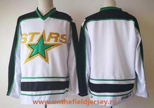 Men's Dallas Stars Blank White Away 2017-2018 CCM Hockey Stitched NHL Jersey