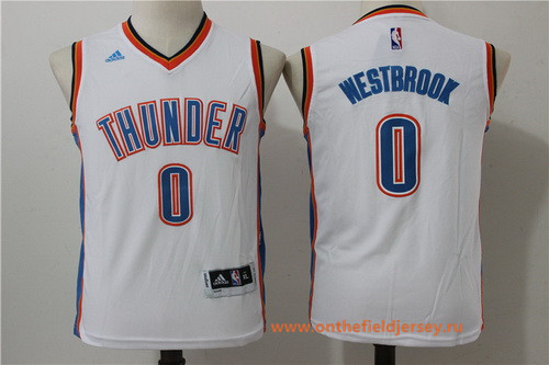 Youth Oklahoma City Thunder #0 Russell Westbrook NEW White Stitched NBA adidas Basketball Jersey