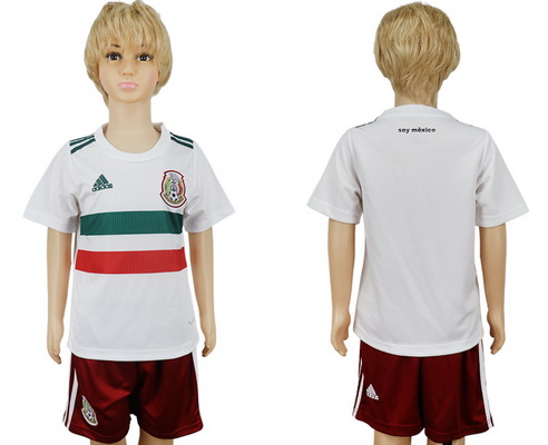 2018 World Cup Mexico National Team Away White Kids Youth Soccer Shirt Kit