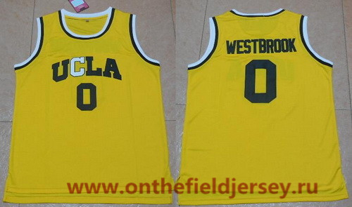 Men's UCLA Bruins #0 Russell Westbrook Gold College Basketball adidas Swingman Stitched NCAA Jersey