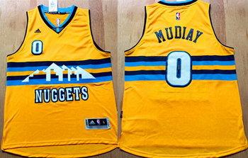 Men's Denver Nuggets #0 Emmanuel Mudiay Revolution 30 Swingman 2015 New Yellow Jersey