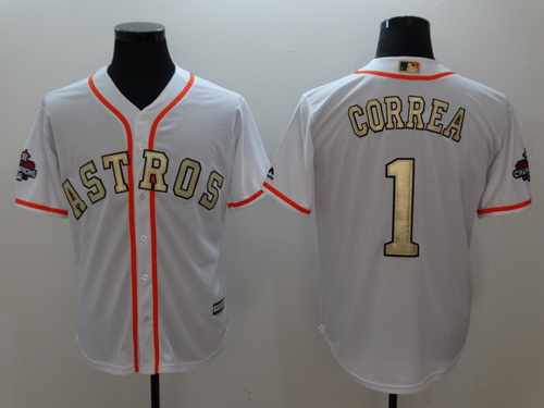Men's Houston Astros #1 Carlos Correa White World Series Champions 2017 Gold Stitched MLB Majestic Flex Base Jersey