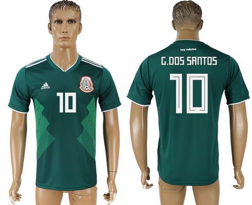 2018 World Cup Mexico National Team Home Green #10 G. Dos Santos Men's Soccer AAA+ Shirt