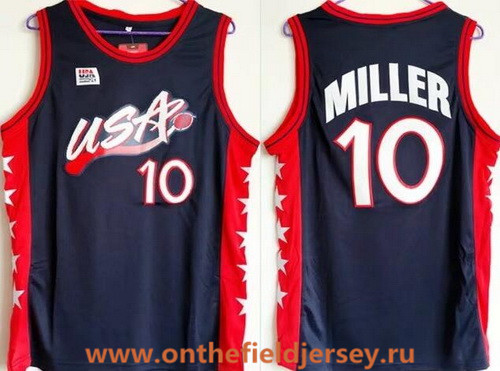 1996 Olympics Team USA Men's #10 Reggie Miller Navy Blue Retro Stitched Basketball Swingman Jersey