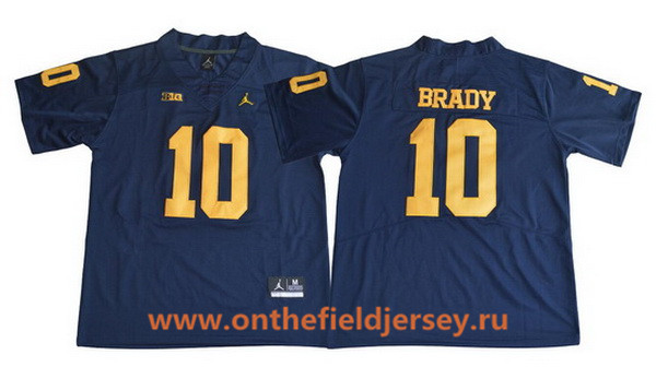 Men's Michigan Wolverines #10 Tom Brady Navy Blue 2017 College Football Stitched Brand Jordan NCAA Jersey