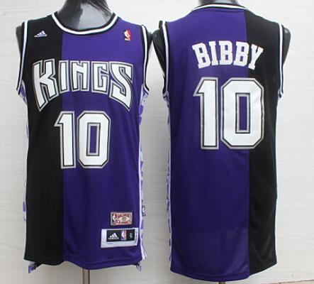Men's Sacramento Kings #10 Mike Bibby Purple/Black Hardwood Classics Soul Swingman Throwback Jersey