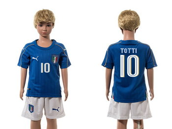 2016 European Cup Italy Home #10 Totti Blue Youth Soccer Shirt Kit