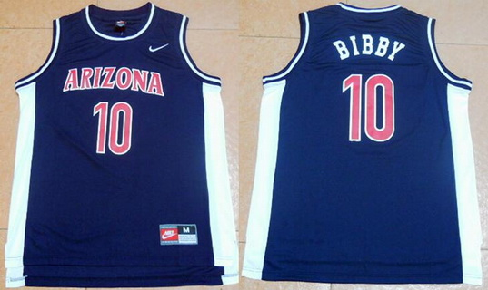 Men's University of Arizona #10 Mike Bibby Navy Blue College Basketball Jersey