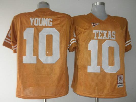Men's Texas Longhorns #10 Vince Young Burnt Orange 2005 Throwback NCAA Football Jersey