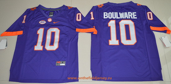 Men's Clemson Tigers #10 Ben Boulware Purple Stitched NCAA Nike 2016 College Football Jersey