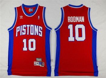 Men's Detroit Pistons #10 Dennis Rodman Red Hardwood Classics Soul Swingman Throwback Jersey