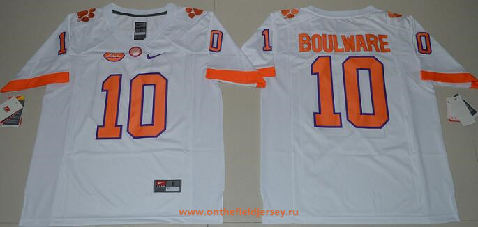 Men's Clemson Tigers #10 Ben Boulware White Stitched NCAA Nike 2016 College Football Jersey