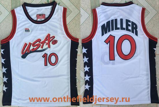 1996 Olympics Team USA Men's #10 Reggie Miller White Retro Stitched Basketball Swingman Jersey