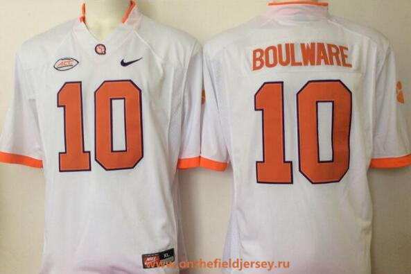 Men's Clemson Tigers #10 Ben Boulware White Limited Stitched College Football Nike NCAA Jersey