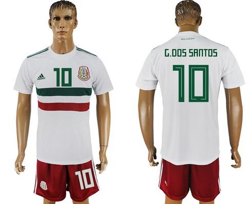 2018 World Cup Mexico National Team Away White #10 G. Dos Santos Men's Soccer Shirt Kit