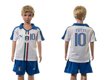 2016 European Cup Italy Away #10 Totti White Youth Soccer Shirt Kit