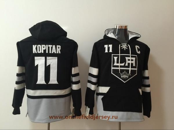 Men's Los Angeles Kings #11 Anze Kopitar Black Pocket Stitched NHL Old Time Hockey Pullover Hoodie